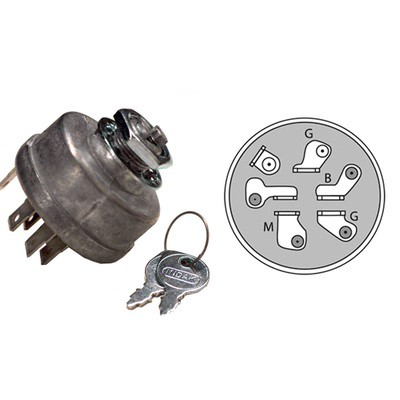 9166 Lawn Mower Ignition Switch Replaces John Deere AM 38227